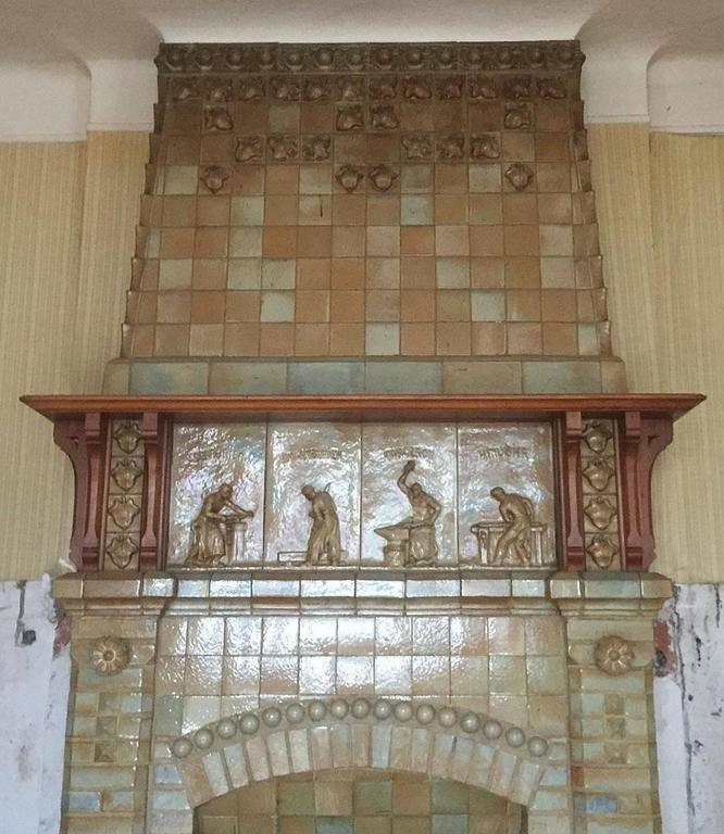 Antique Ceramic Fireplace with Hood by Charles Gréber, circa 1910 2