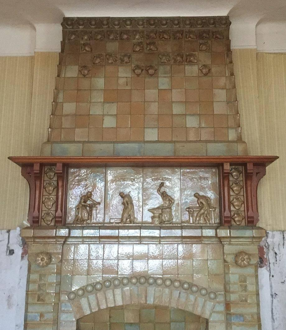 antique ceramic fireplace with hood by charles gr u00e9ber Wood Fireplace Ceramic Tile On Fireplaces Ideas