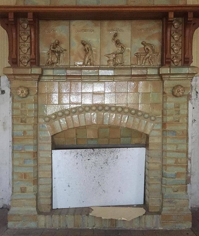 Antique Ceramic Fireplace with Hood by Charles Gréber, circa 1910 3
