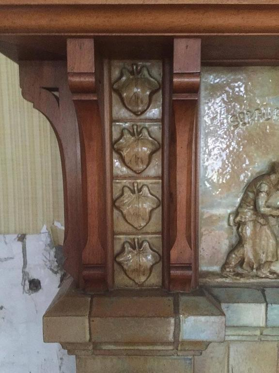 Antique Ceramic Fireplace with Hood by Charles Gréber, circa 1910 8
