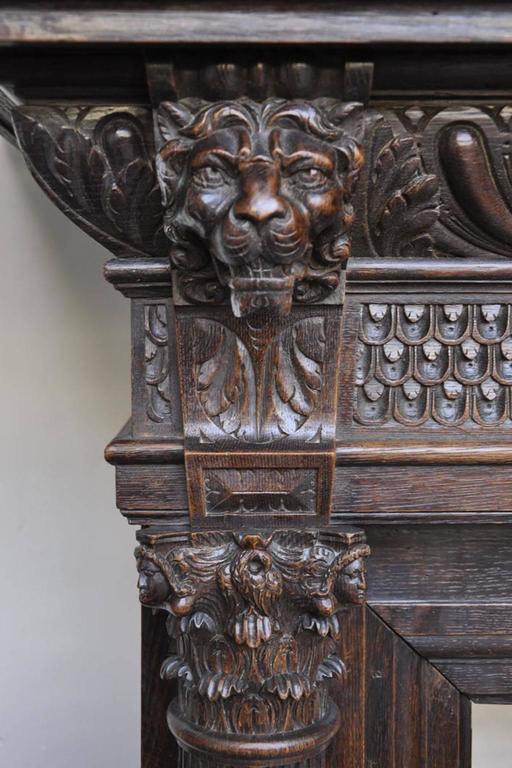 Renaissance Revival Style Carved Oak Fireplace 19th