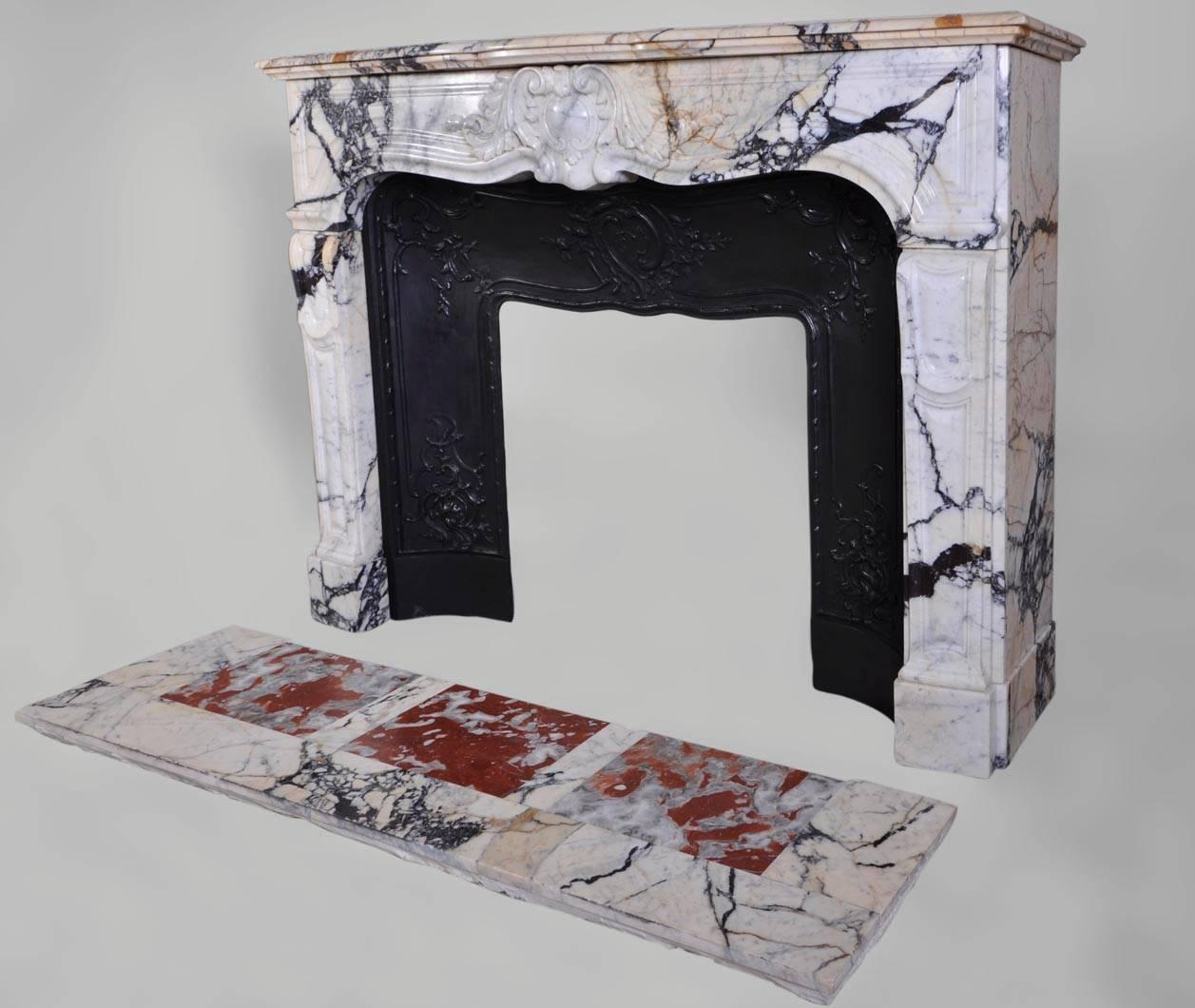 Antique Regence Style Fireplace In Panazeau Marble With Cast Iron Insert At 1stdibs