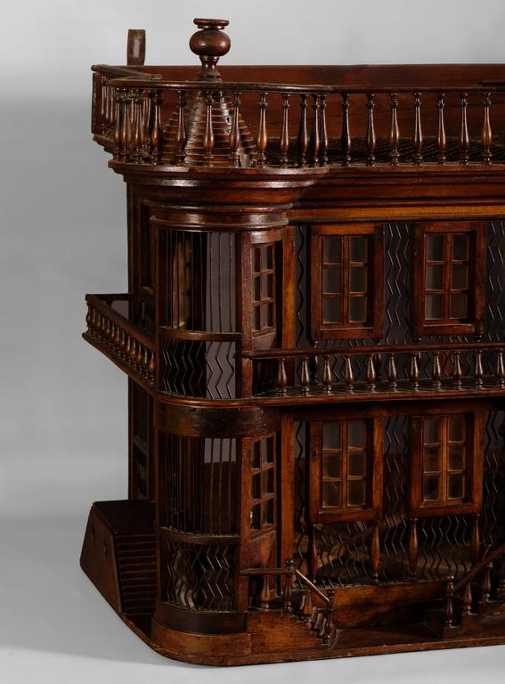 Belle Époque Rare Bird Cage in the Shape of a Miniature Castle, Late 19th Century For Sale