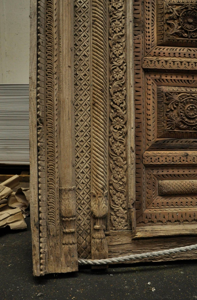 Indian Carved Wood Door And Window Frame Period 19th