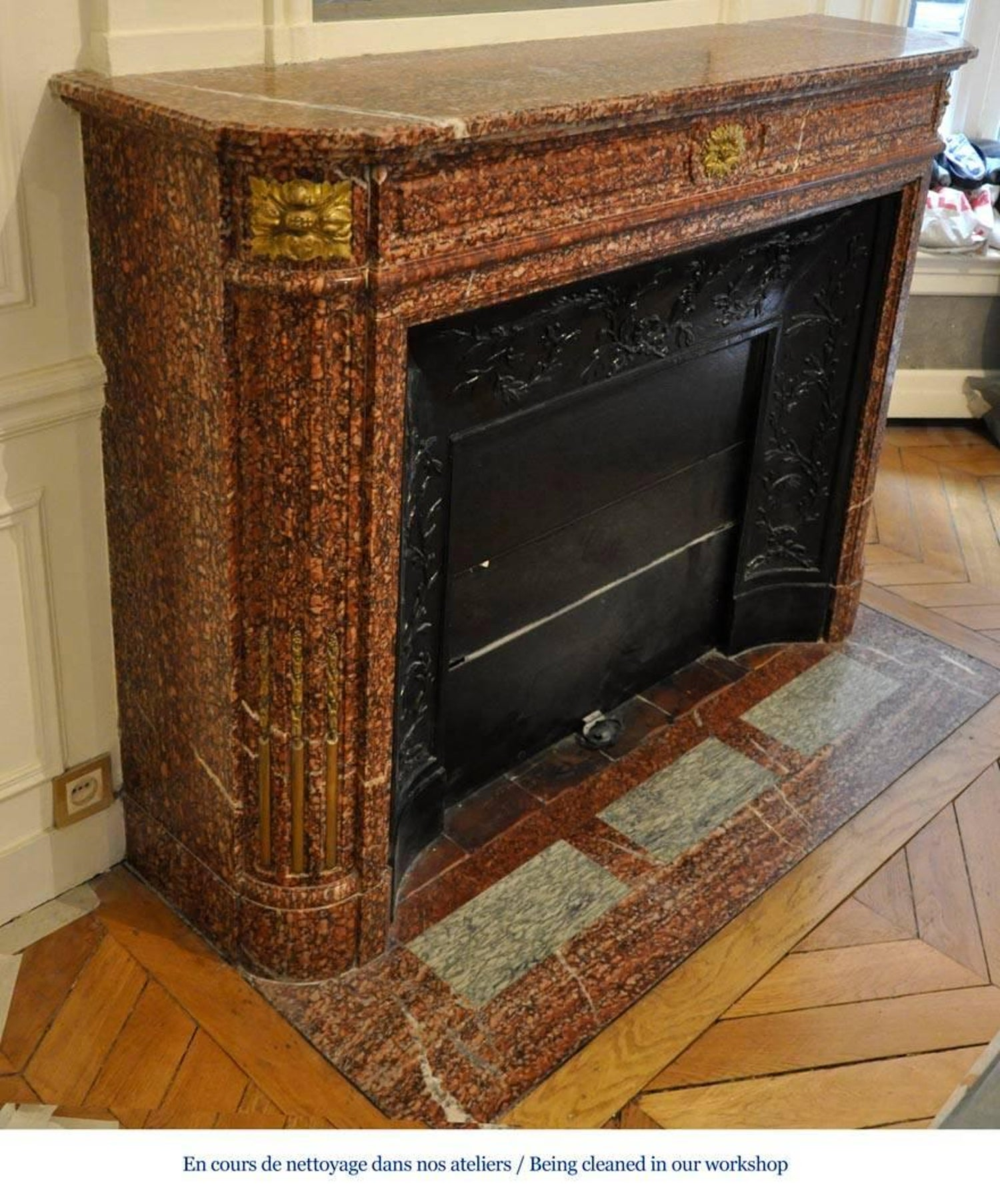 Antique Louis Xvi Style Fireplace Mantel In Griotte Marble And