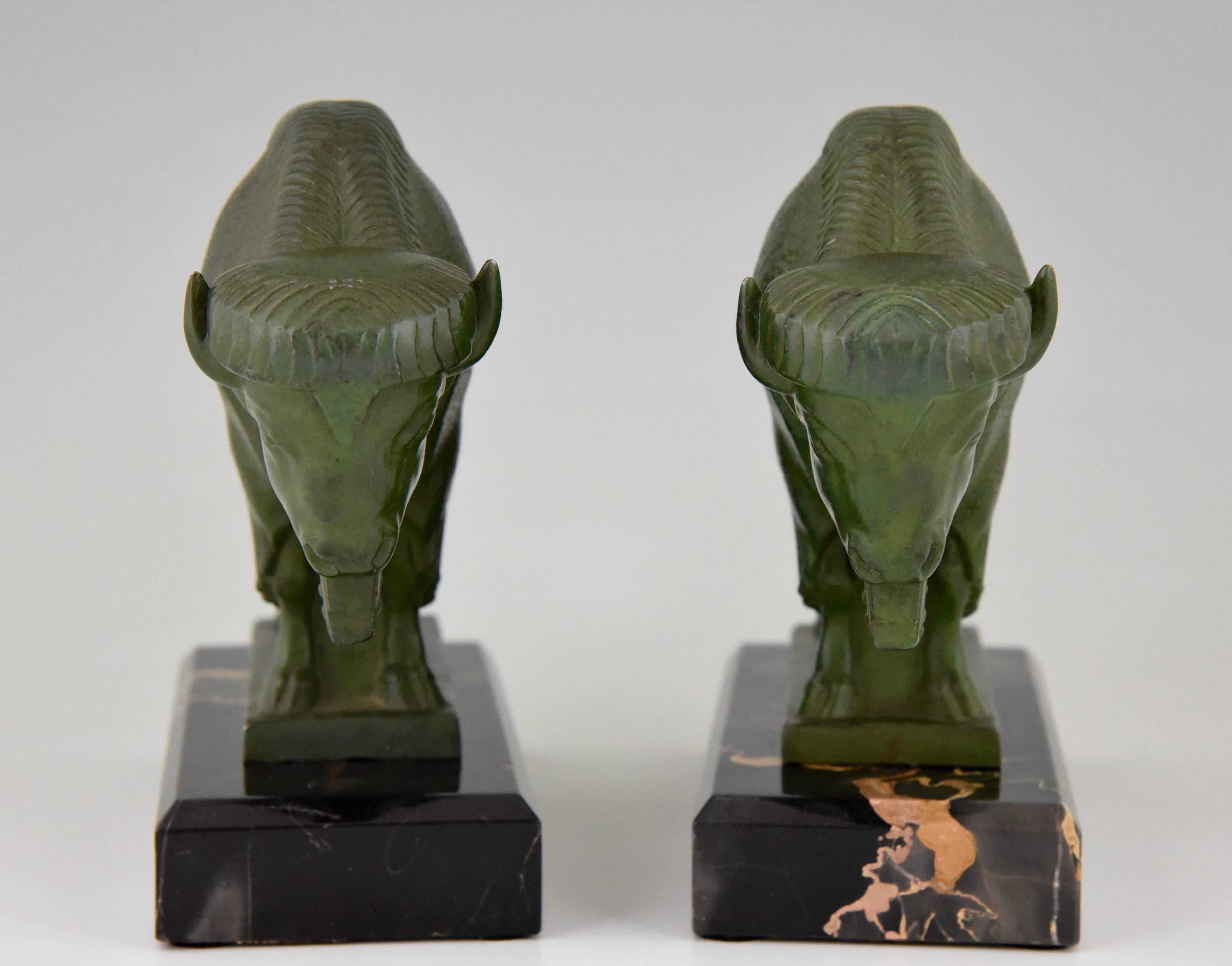 French Art Deco Bison Bookends By Max Le Verrier 1930 At 1stdibs