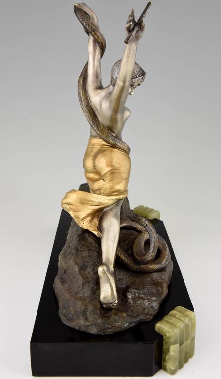 Art Deco Bronze Female Snake Charmer Nude Dancer by Th