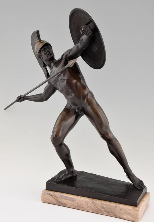 Antique Male Nude Warrior with Spear by Schmidt Kestner H 23 inch, Ca  1900