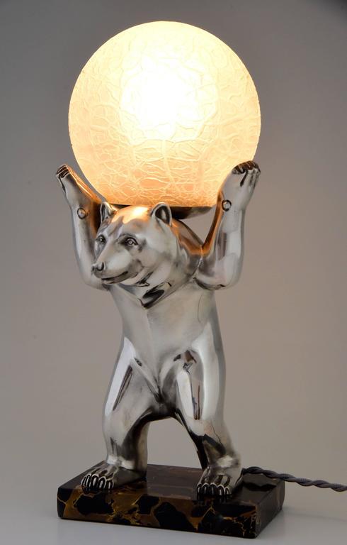 Description: Art Deco Lamp With Bear Holding A Crackle Glass Globe. Artist  / Maker