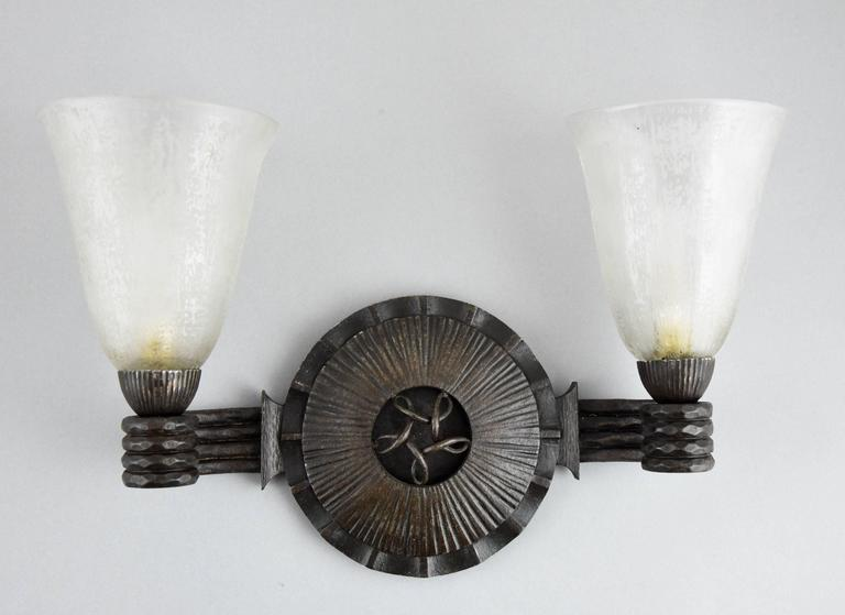 French Art Deco Wrought Iron Glass Wall Lights sconces  Nics Freres & Daum 1930 France