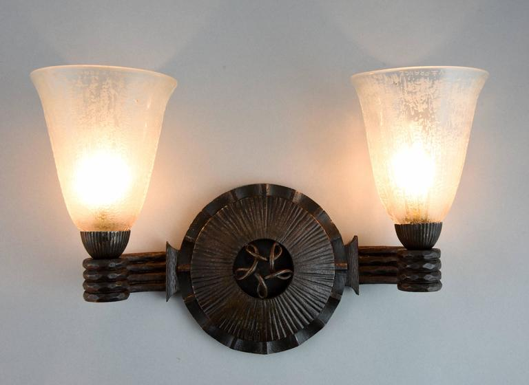 Art Deco Wrought Iron Glass Wall Lights sconces  Nics Freres & Daum 1930 France In Excellent Condition In Antwerp, BE