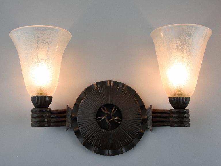 Art Deco Wrought Iron Glass Wall Lights sconces  Nics Freres & Daum 1930 France 1