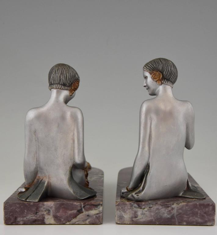French Art Deco Bronze Nude Bookends by Scribe, 1930 6