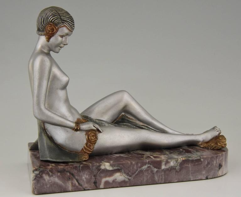 French Art Deco Bronze Nude Bookends by Scribe, 1930 8