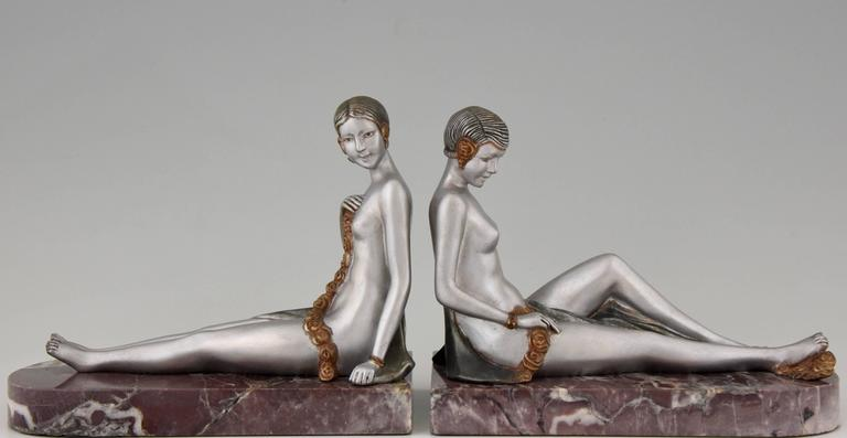 French Art Deco Bronze Nude Bookends by Scribe, 1930 2
