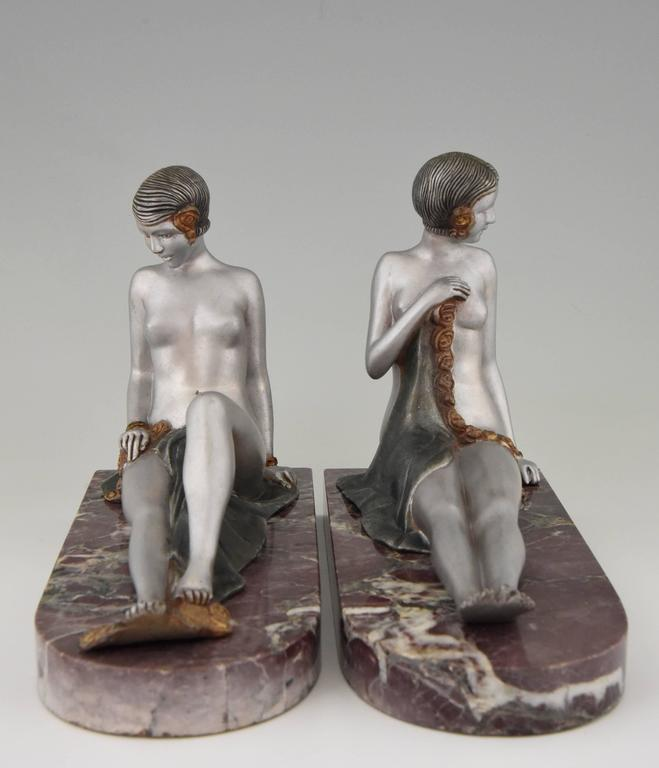 French Art Deco Bronze Nude Bookends by Scribe, 1930 5