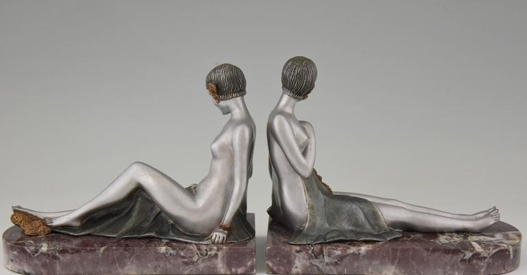 French Art Deco Bronze Nude Bookends by Scribe, 1930 4
