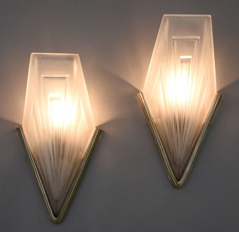 Art Deco Wall Lights : French art deco bronze and glass wall lights by degu?