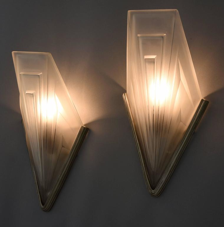 Wall Sconce Lighting Art Deco : French Art Deco Bronze and Glass Wall Lights by Degue, 1930 at 1stdibs