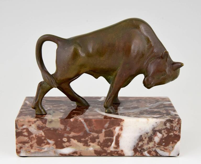 French Art Deco Bronze Bull Bookends by Luc, 1930 6