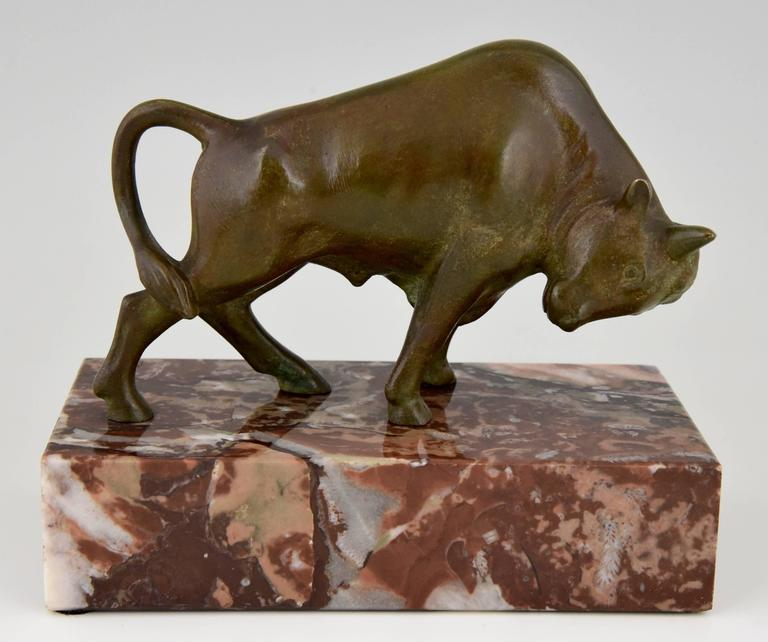 French Art Deco Bronze Bull Bookends by Luc, 1930 7