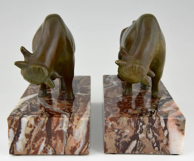 French Art Deco Bronze Bull Bookends by Luc, 1930 4