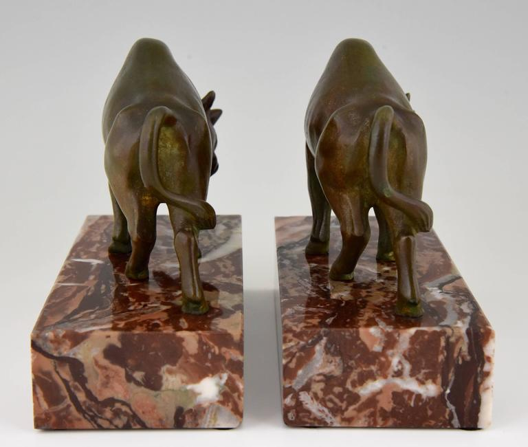 French Art Deco Bronze Bull Bookends by Luc, 1930 5