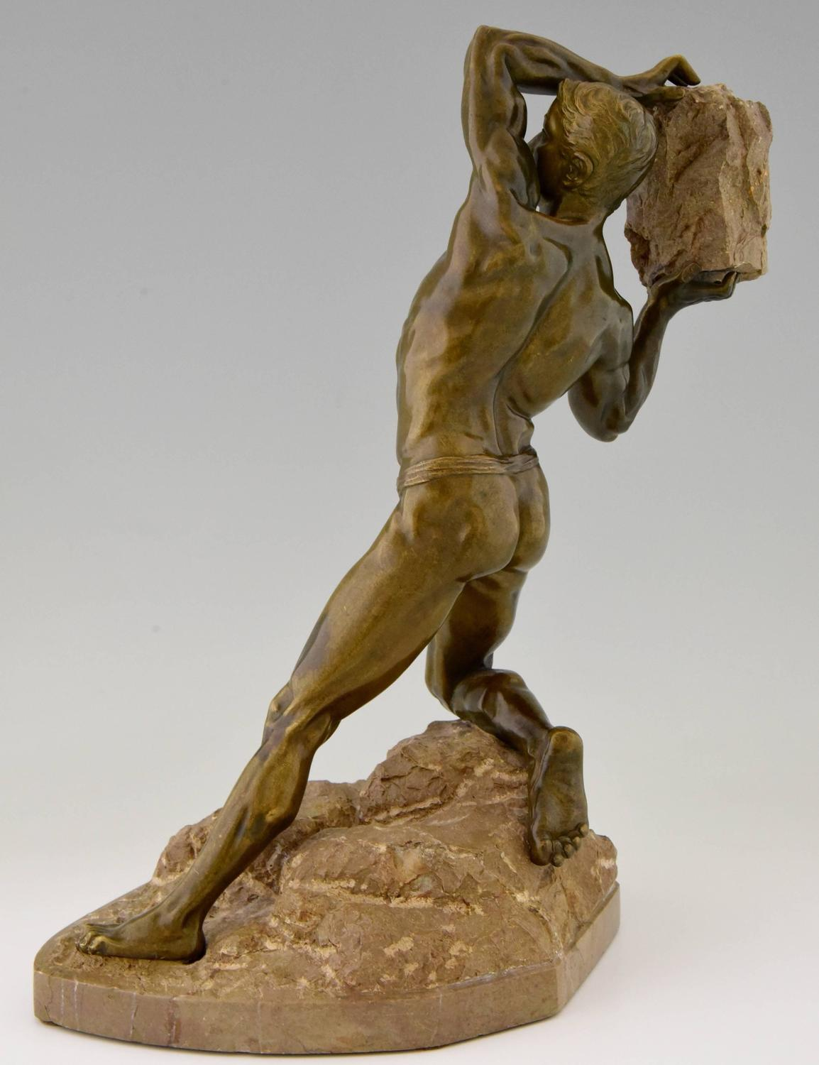 Antique Bronze Sculpture Male Nude With Rock, 1900 For Sale At 1Stdibs-3320