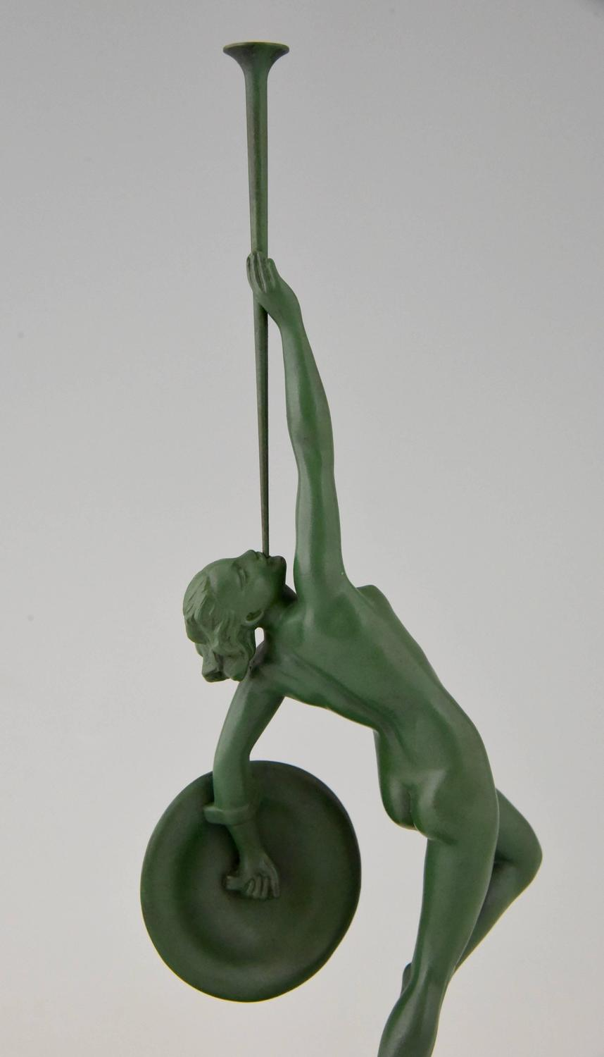 French Art Deco Sculpture of Diana, Nude with Bow by Jean