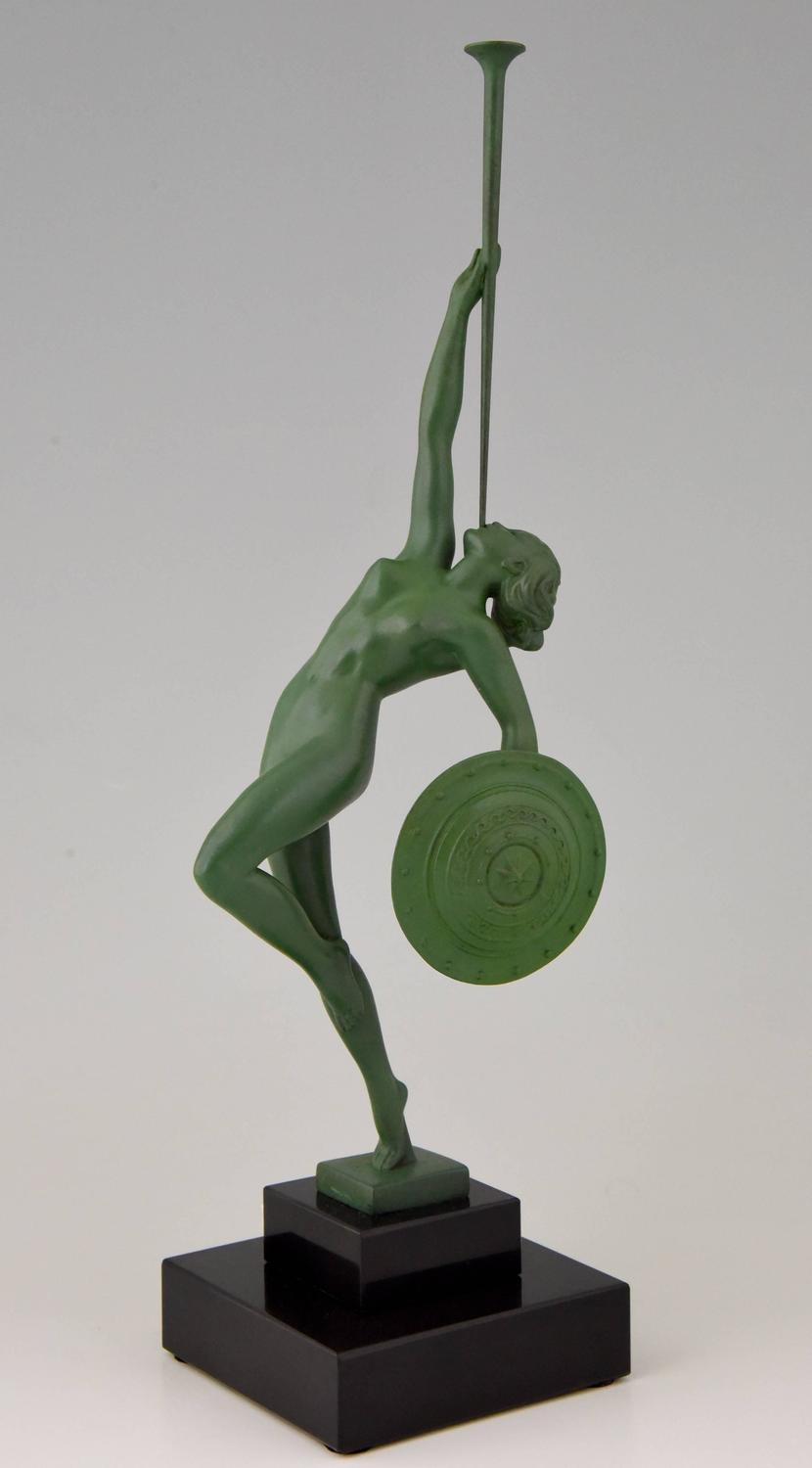 Art Deco sculpture nude with trumpet and shield, Jericho