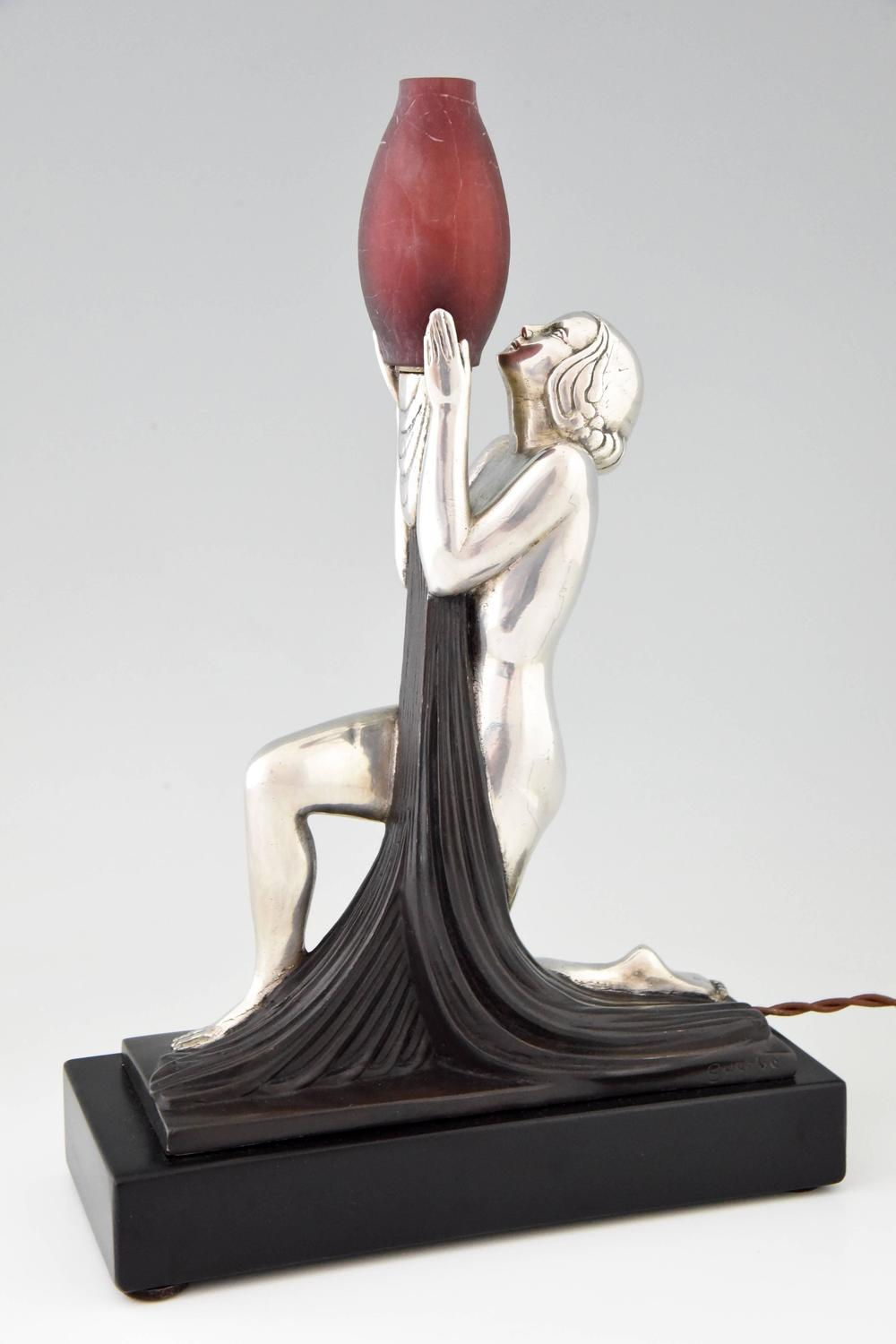 French Art Deco Lamp With Nude Silvered Bronze And Glass By Guerbe 1930 At 1stdibs
