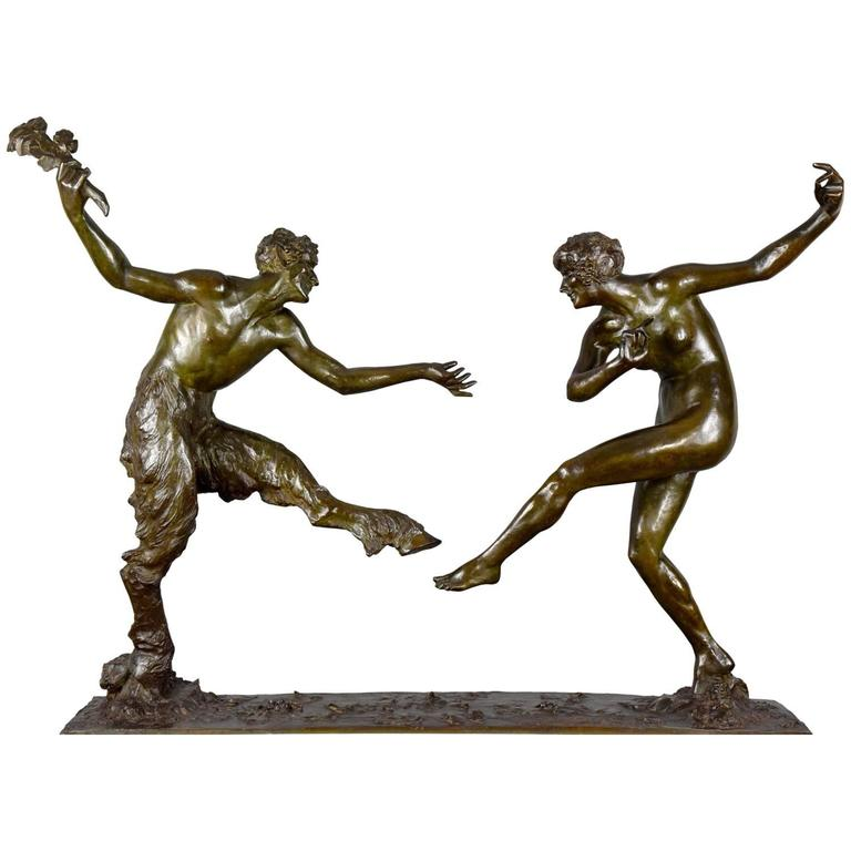 Huge Art Deco Bronze Sculpture Satyr and Nude by Guiraud Rivier 42.5 inch 1930