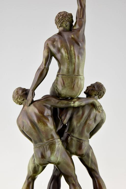 French Art Deco Sculpture Of Three Male Nude Athletes By Pierre Le Fagauys, 1930 At -1962