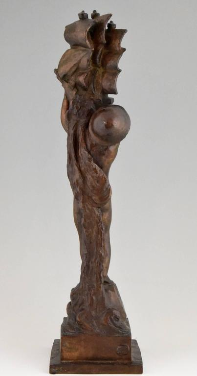 19th Century Art Deco Bronze young Boy and Boat by H. Moncassin Susse Freres France 1930 For Sale