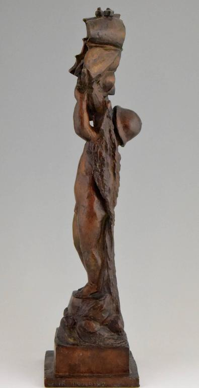 Art Deco Bronze young Boy and Boat by H. Moncassin Susse Freres France 1930 For Sale 1