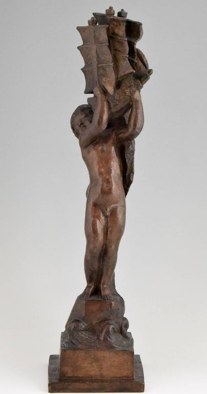 French Art Deco Bronze young Boy and Boat by H. Moncassin Susse Freres France 1930 For Sale
