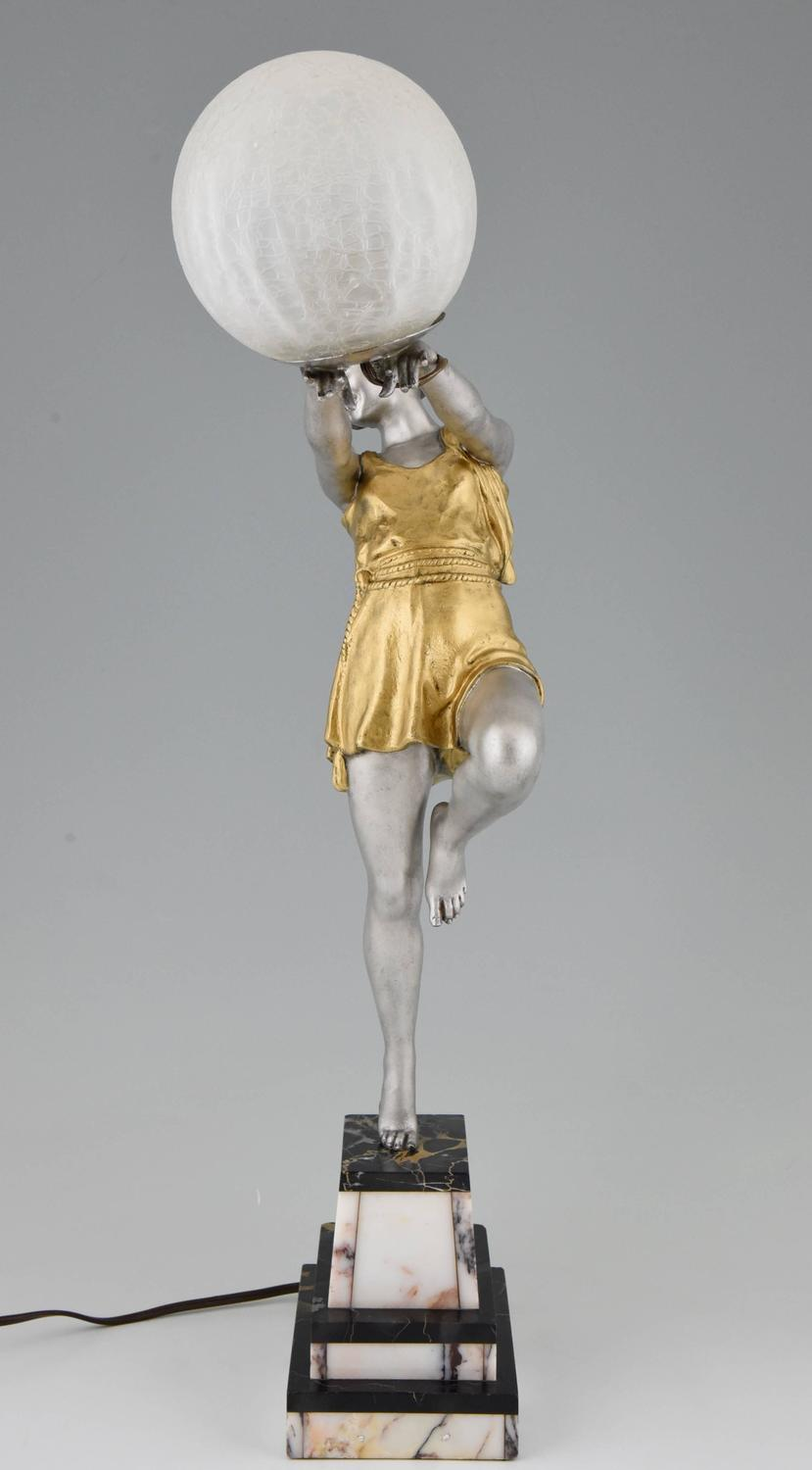 French Art Deco Lamp Lady With Ball By Emile Carlier On