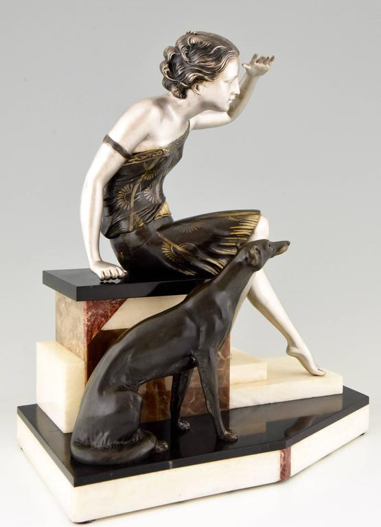 French Art Deco Sculpture Woman With Borzoi Dog By Uriano 1930 At 1stdibs