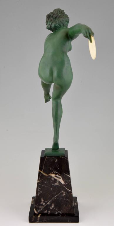 Art Deco Bronze Nude Hoop Dancer Andre Marcel Bouraine