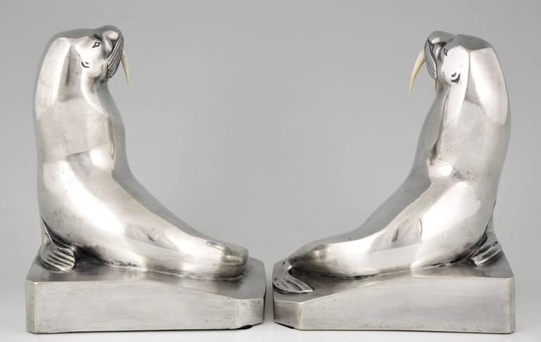 French Art Deco Silvered Bronze Walrus Bookends by G. H. Laurent 4