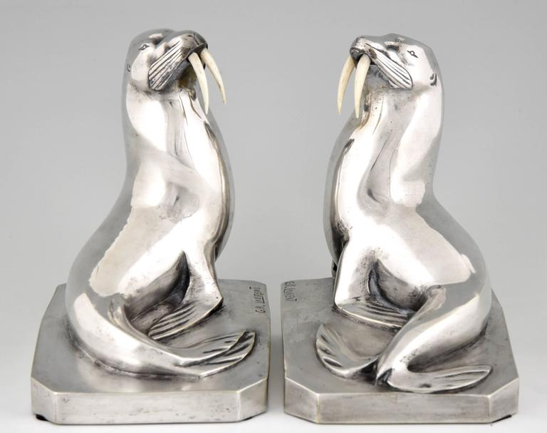 French Art Deco Silvered Bronze Walrus Bookends by G. H. Laurent 3
