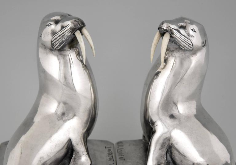 French Art Deco Silvered Bronze Walrus Bookends by G. H. Laurent 8