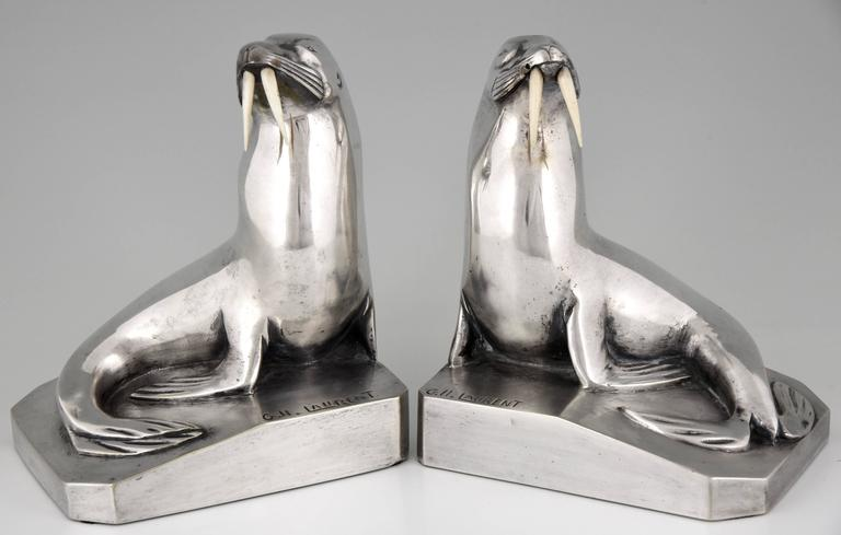 French Art Deco Silvered Bronze Walrus Bookends by G. H. Laurent 2