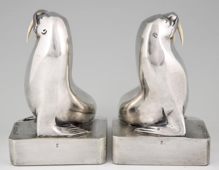 French Art Deco Silvered Bronze Walrus Bookends by G. H. Laurent 5