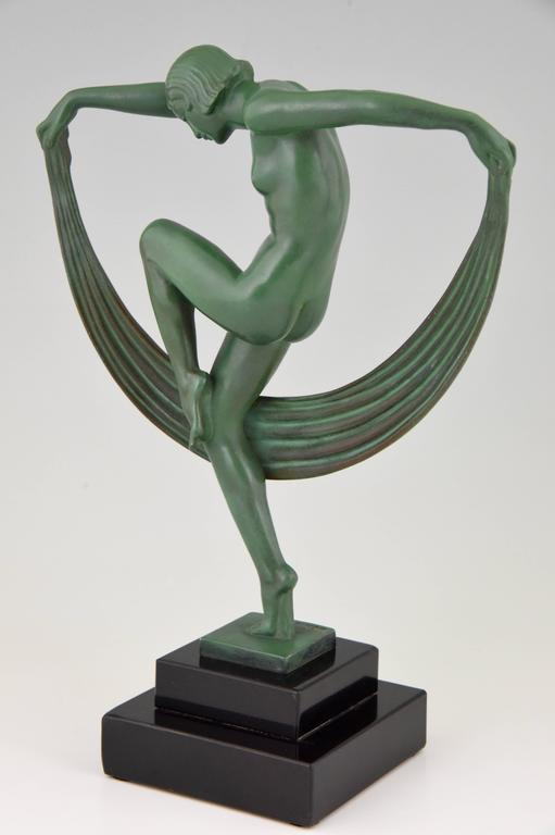 French Art Deco Sculpture Of A Nude Scarf Dancer By Denis, 1930 At