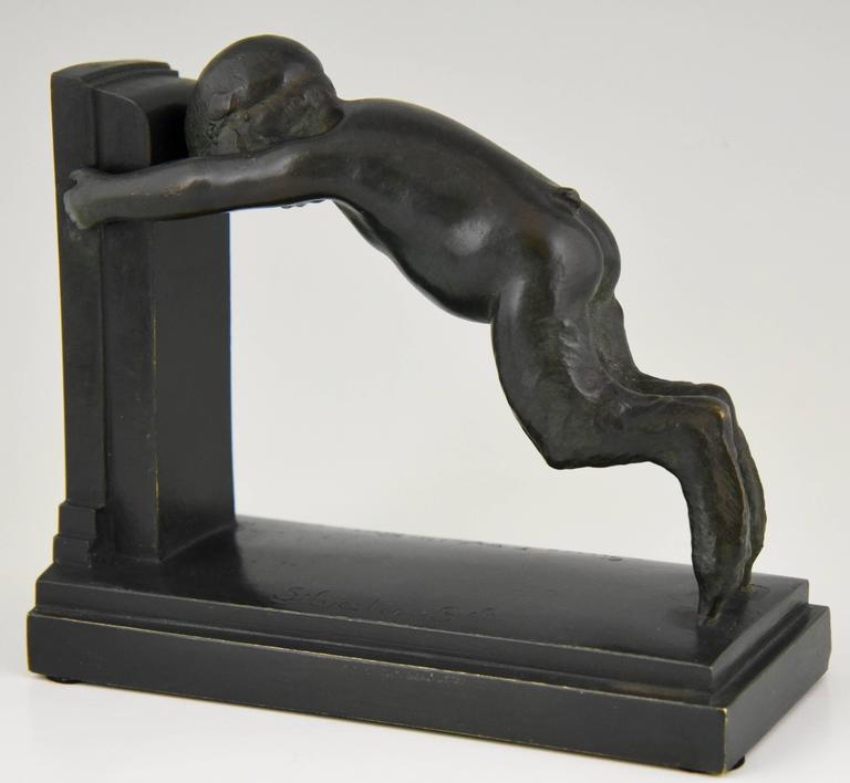 Art Deco Bronze Bookends Young Satyrs by Paul Silvestre, 1920 France For Sale 2