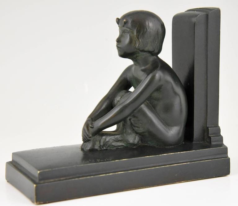Art Deco Bronze Bookends Young Satyrs by Paul Silvestre, 1920 France For Sale 1