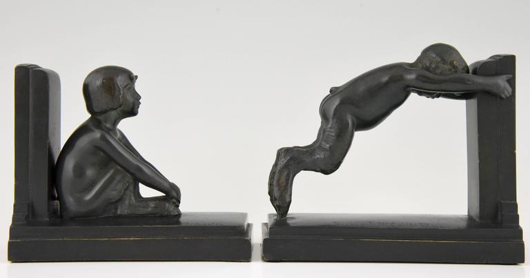 French Art Deco Bronze Bookends Young Satyrs by Paul Silvestre, 1920 4