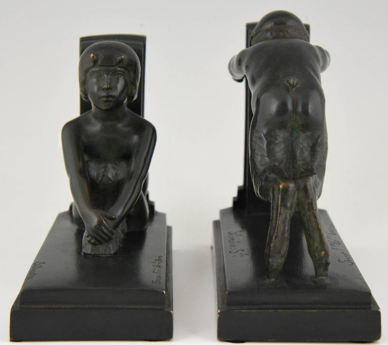 French Art Deco Bronze Bookends Young Satyrs by Paul Silvestre, 1920 France For Sale