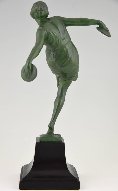 French Art Deco Sculpture Dancer With Cymbals By Fayral -7112